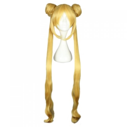 Women Long Yellow Wigs with 2 Ponytails Double Bun Hair Anime Cosplay for Sailor Moon Tsukino Usagi
