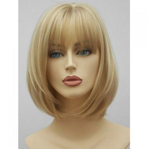 See-through Bang Short Straight Synthetic Hair