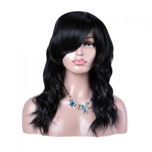 Long Side Bang Layered Fluffy Natural Wavy Synthetic Wig
