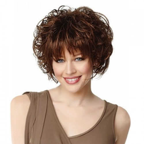 Short Wavy Curly Fluffy Synthetic Wig with Bangs