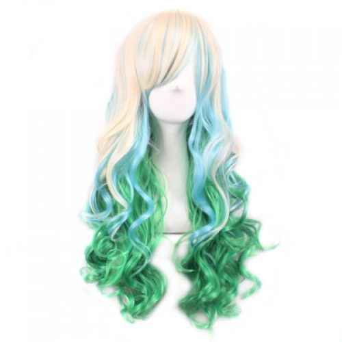 Multi-color Big Curly Long Wig with Bangs for Cosplay