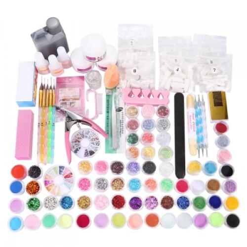 120ml DIY Nail Decorations Manicure Set Buffer Glue Acrylic Glitter Powder Liquid File Tips Pen Tool
