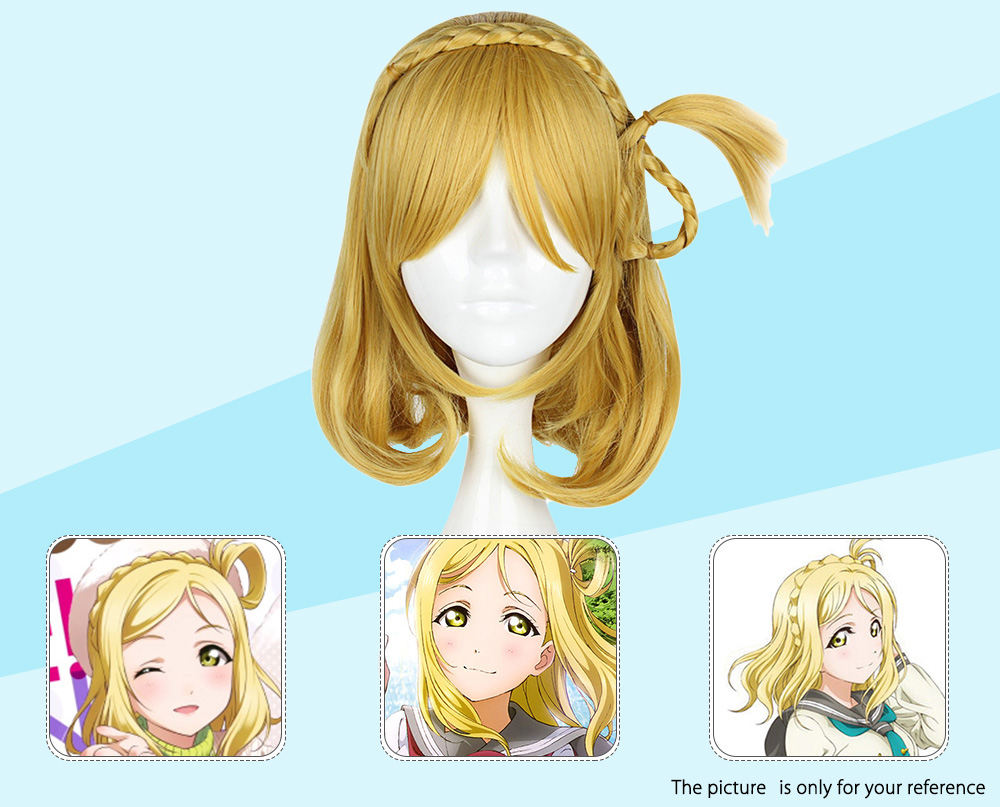 35CM Flax Yellow Wigs Synthetic Hair Anime Cosplay Party for Sunshine Aqours Ohara Mari Figure