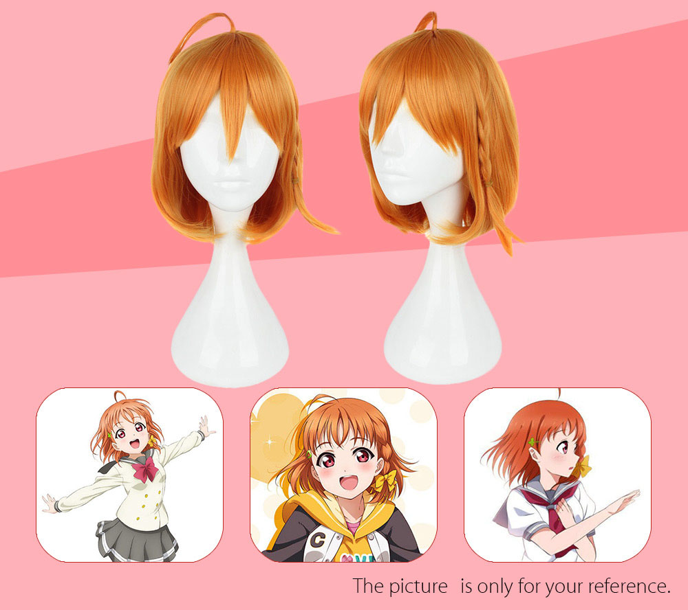 35CM Orange Wigs Heat Resistant Synthetic Hair Anime Cosplay Party for Sunshine Aqours Takami Chika Figure
